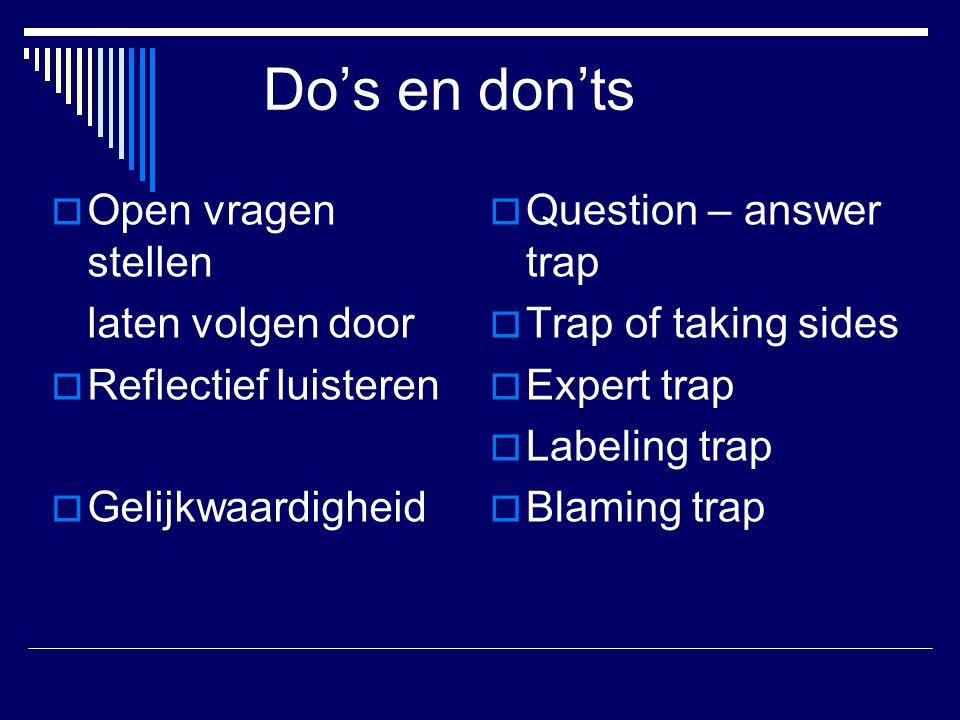 Do's en don'ts  Open vragen stellen laten volgen door  Reflectief luisteren  Gelijkwaardigheid  Question – answer trap  Trap of taking sides  Expert trap  Labeling trap  Blaming trap