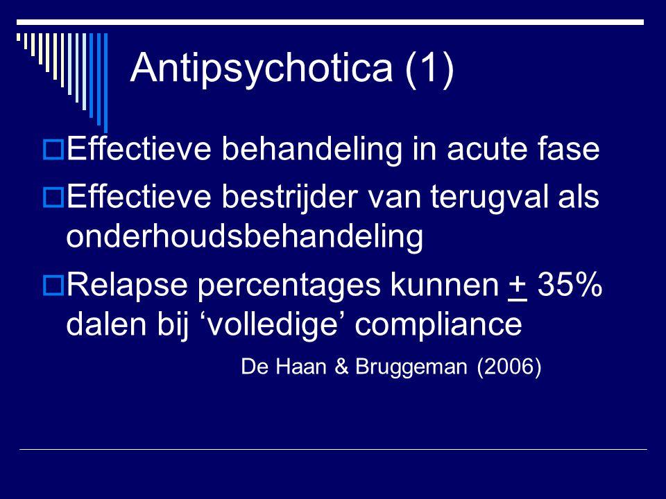 Antipsychotica (1)  Effectieve behandeling in acute fase  Effectieve bestrijder van terugval als onderhoudsbehandeling  Relapse percentages kunnen + 35% dalen bij 'volledige' compliance De Haan & Bruggeman (2006)