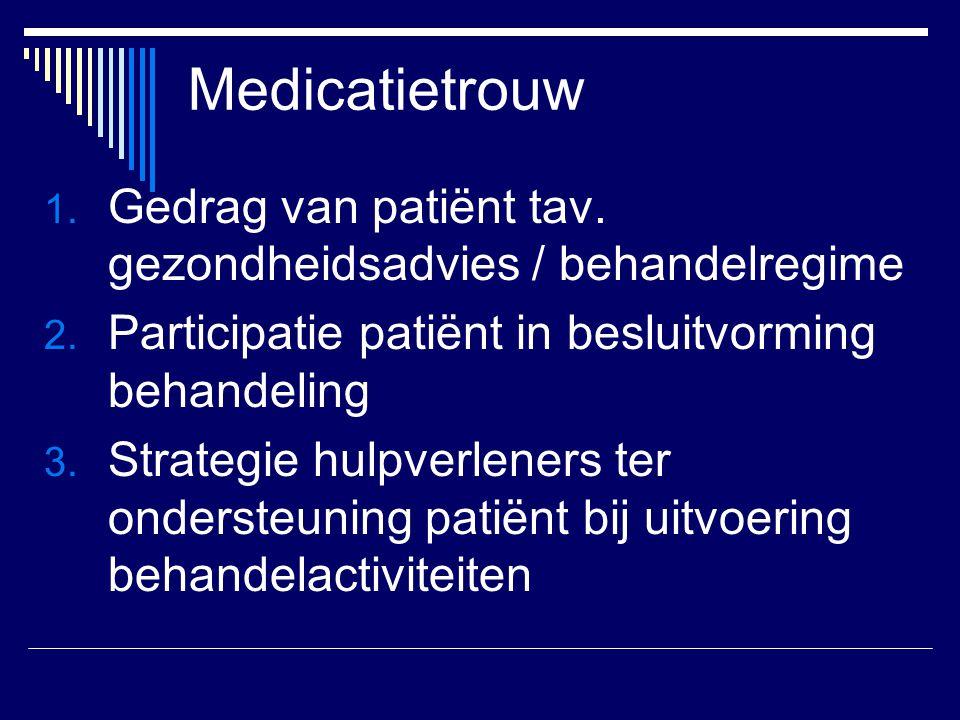 Medicatietrouw 1. Gedrag van patiënt tav. gezondheidsadvies / behandelregime 2. Participatie patiënt in besluitvorming behandeling 3. Strategie hulpve