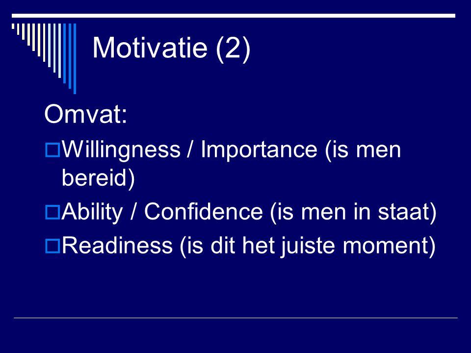 Motivatie (2) Omvat:  Willingness / Importance (is men bereid)  Ability / Confidence (is men in staat)  Readiness (is dit het juiste moment)