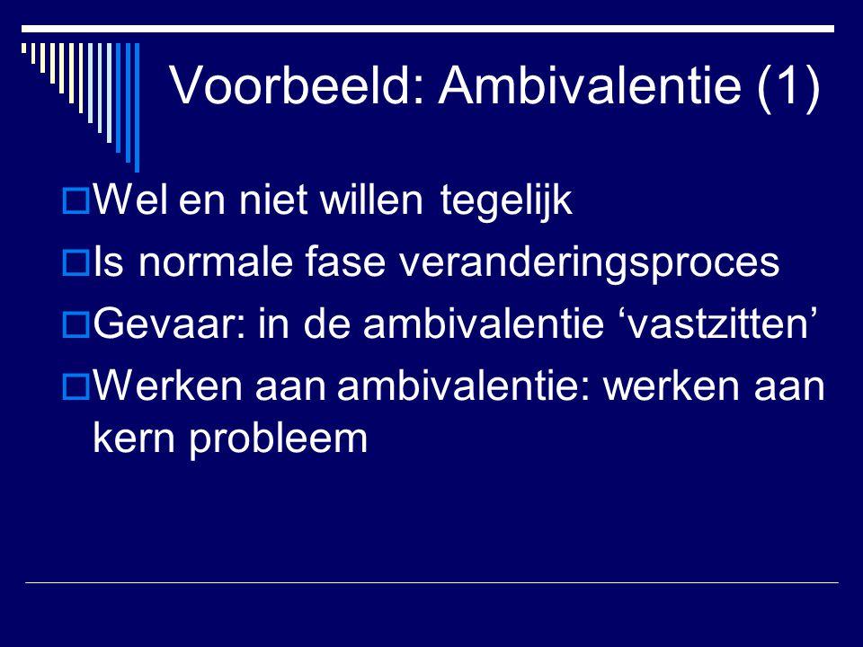 Voorbeeld: Ambivalentie (1)  Wel en niet willen tegelijk  Is normale fase veranderingsproces  Gevaar: in de ambivalentie 'vastzitten'  Werken aan
