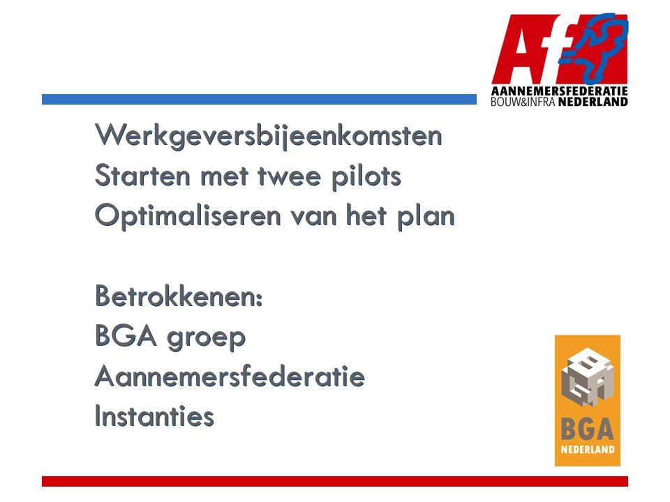 Werkgeversbijeenkomsten Starten met twee pilots Optimaliseren van het plan Betrokkenen: BGA groep Aannemersfederatie Instanties Werkgeversbijeenkomsten Starten met twee pilots Optimaliseren van het plan Betrokkenen: BGA groep Aannemersfederatie Instanties
