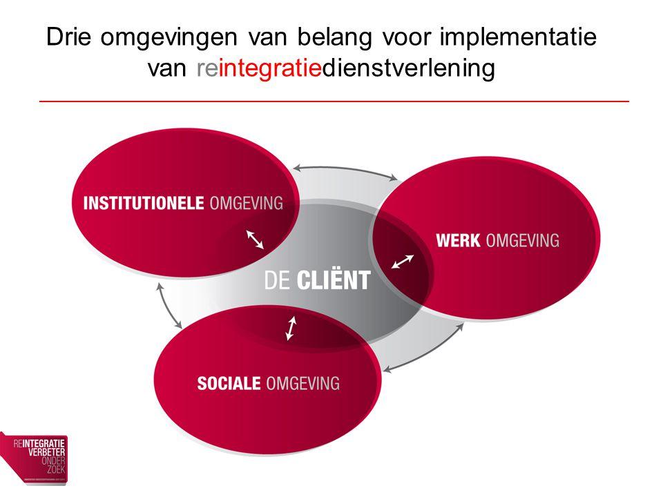 Drie omgevingen van belang voor implementatie van reintegratiedienstverlening