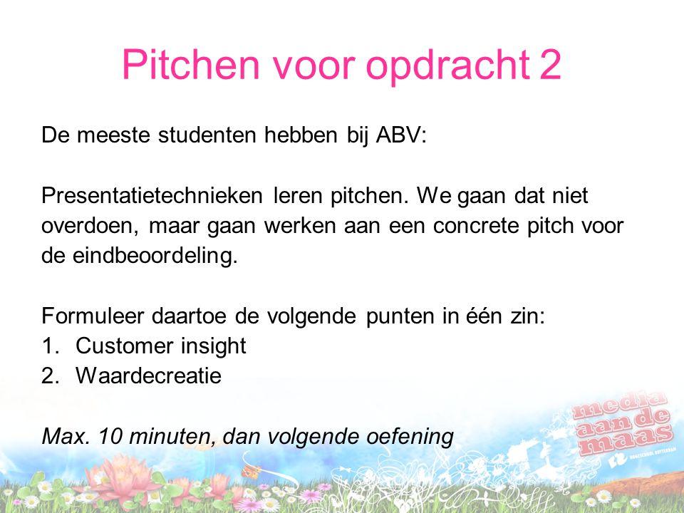Pitchen voor opdracht 2 De meeste studenten hebben bij ABV: Presentatietechnieken leren pitchen.