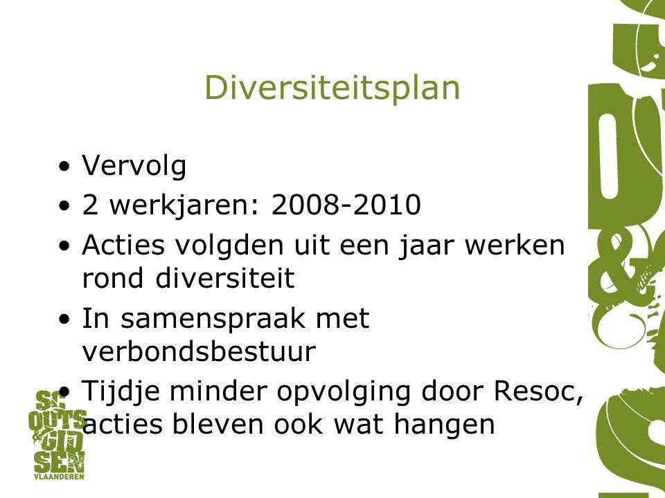 Diversiteitsplan Vervolg 2 werkjaren: 2008-2010 Acties volgden uit een jaar werken rond diversiteit In samenspraak met verbondsbestuur Tijdje minder o