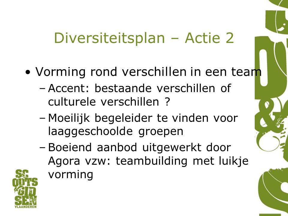 Diversiteitsplan – Actie 2 Vorming rond verschillen in een team –Accent: bestaande verschillen of culturele verschillen ? –Moeilijk begeleider te vind