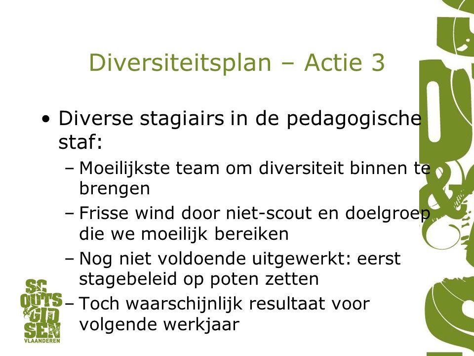 Diversiteitsplan – Actie 3 Diverse stagiairs in de pedagogische staf: –Moeilijkste team om diversiteit binnen te brengen –Frisse wind door niet-scout