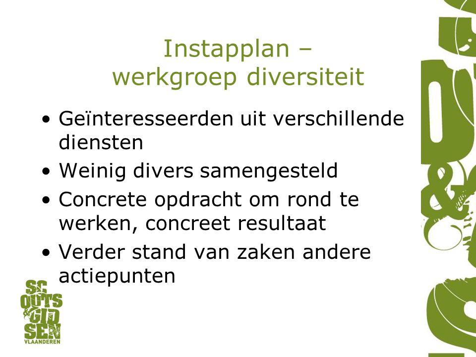 Instapplan – werkgroep diversiteit Geïnteresseerden uit verschillende diensten Weinig divers samengesteld Concrete opdracht om rond te werken, concree
