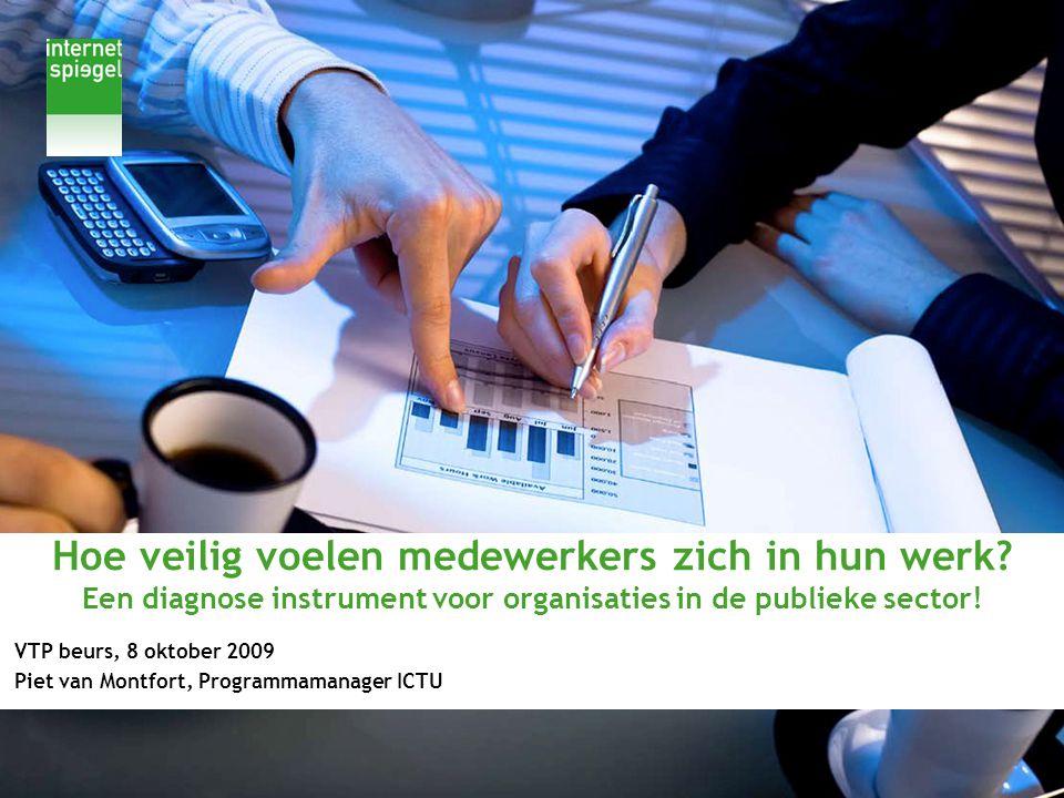 Hoe veilig voelen medewerkers zich in hun werk? Een diagnose instrument voor organisaties in de publieke sector! VTP beurs, 8 oktober 2009 Piet van Mo