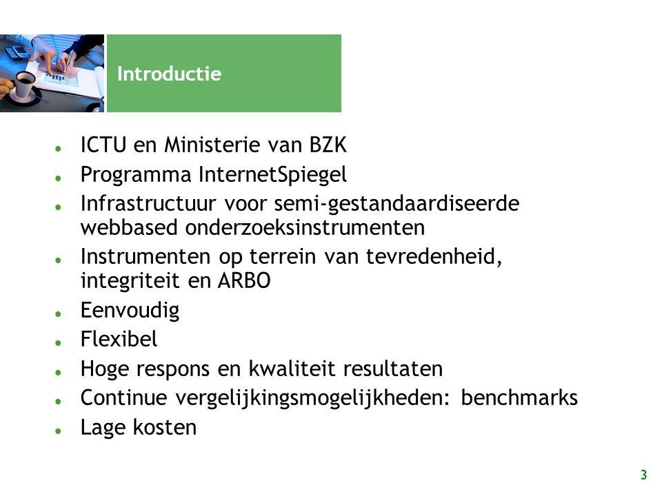 3 Introductie ICTU en Ministerie van BZK Programma InternetSpiegel Infrastructuur voor semi-gestandaardiseerde webbased onderzoeksinstrumenten Instrum