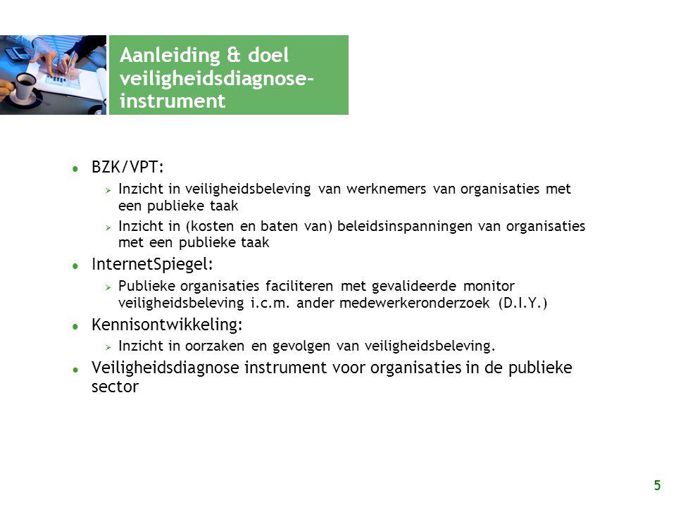 5 Aanleiding & doel veiligheidsdiagnose- instrument BZK/VPT:  Inzicht in veiligheidsbeleving van werknemers van organisaties met een publieke taak 