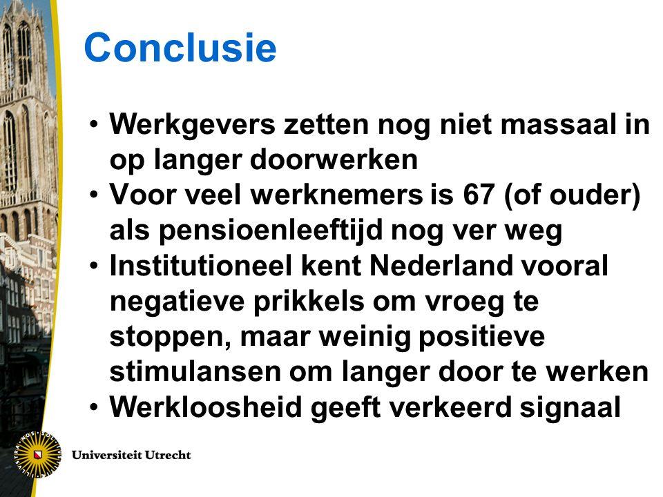 Conclusie Werkgevers zetten nog niet massaal in op langer doorwerken Voor veel werknemers is 67 (of ouder) als pensioenleeftijd nog ver weg Institutioneel kent Nederland vooral negatieve prikkels om vroeg te stoppen, maar weinig positieve stimulansen om langer door te werken Werkloosheid geeft verkeerd signaal