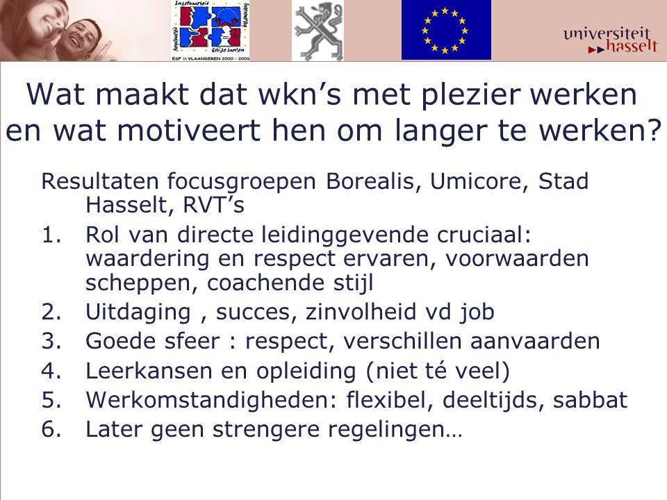 Wat maakt dat wkn's met plezier werken en wat motiveert hen om langer te werken? Resultaten focusgroepen Borealis, Umicore, Stad Hasselt, RVT's 1.Rol