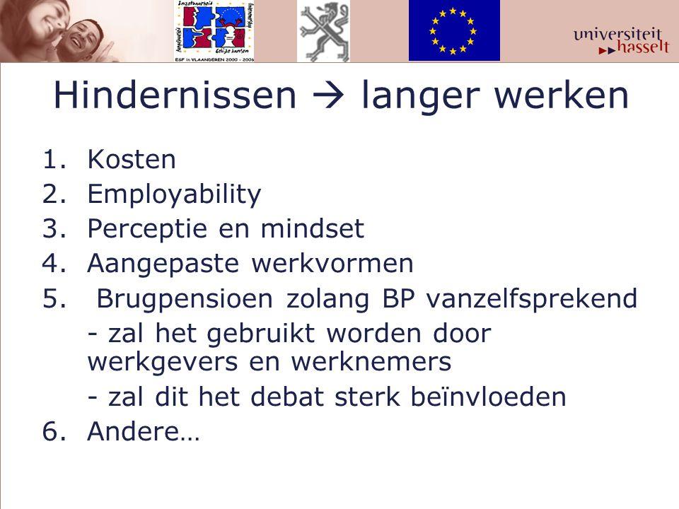 Hindernissen  langer werken 1.Kosten 2.Employability 3. Perceptie en mindset 4. Aangepaste werkvormen 5. Brugpensioen zolang BP vanzelfsprekend - zal