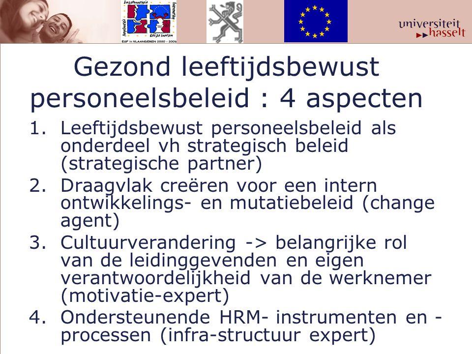 Gezond leeftijdsbewust personeelsbeleid : 4 aspecten 1.Leeftijdsbewust personeelsbeleid als onderdeel vh strategisch beleid (strategische partner) 2.D