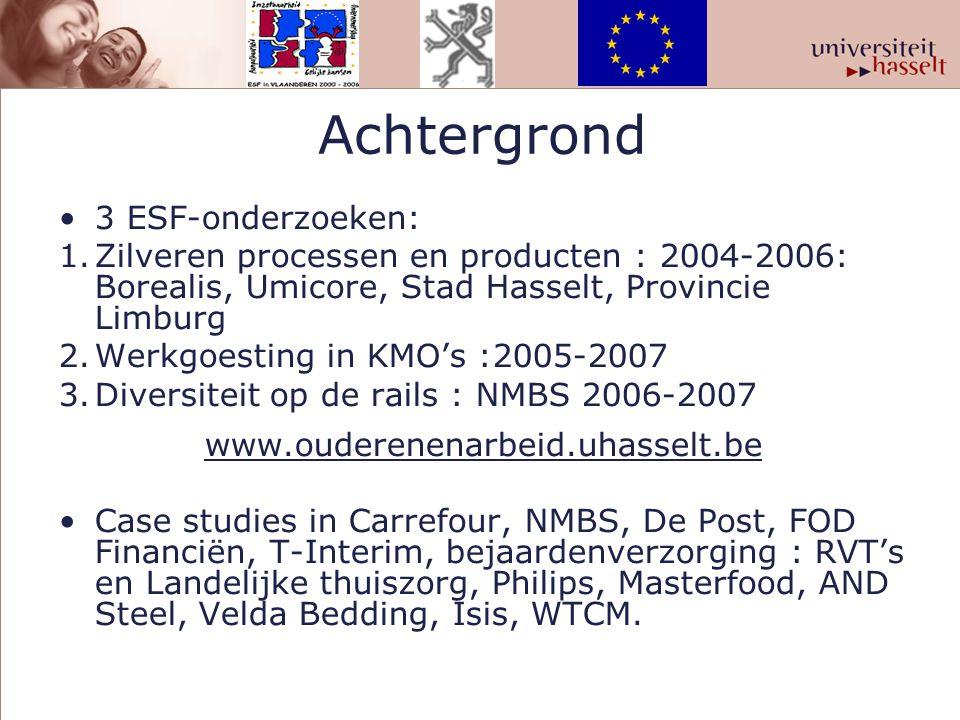 Achtergrond 3 ESF-onderzoeken: 1.Zilveren processen en producten : 2004-2006: Borealis, Umicore, Stad Hasselt, Provincie Limburg 2.Werkgoesting in KMO