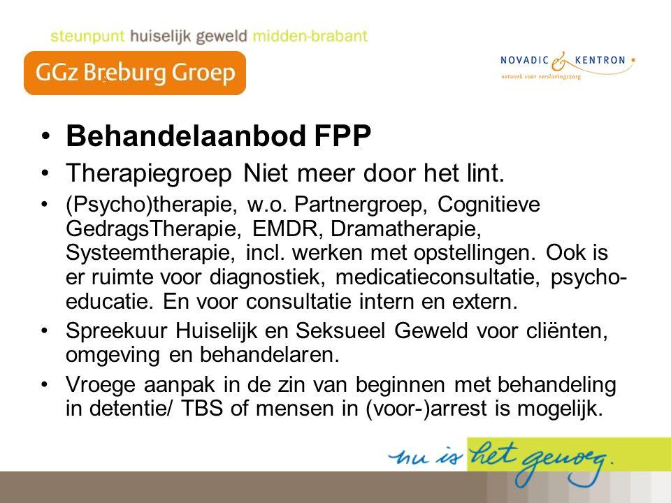 Behandelaanbod FPP Therapiegroep Niet meer door het lint. (Psycho)therapie, w.o. Partnergroep, Cognitieve GedragsTherapie, EMDR, Dramatherapie, Systee