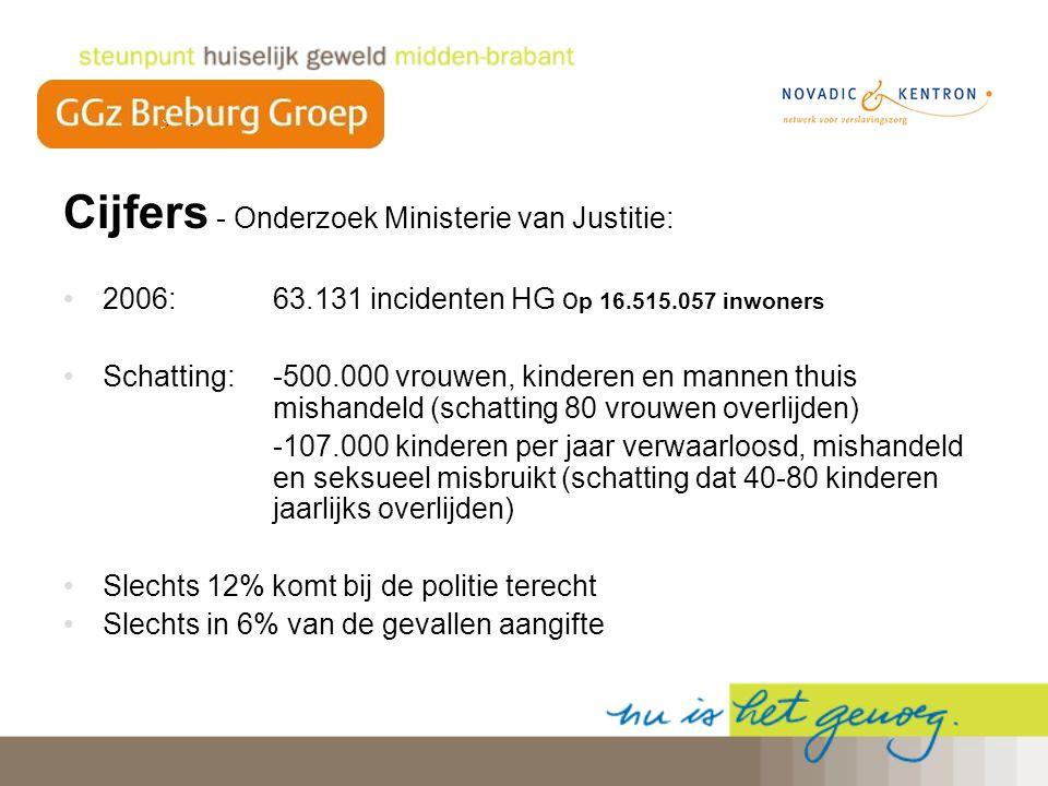 Cijfers - Onderzoek Ministerie van Justitie: 2006: 63.131 incidenten HG o p 16.515.057 inwoners Schatting: -500.000 vrouwen, kinderen en mannen thuis