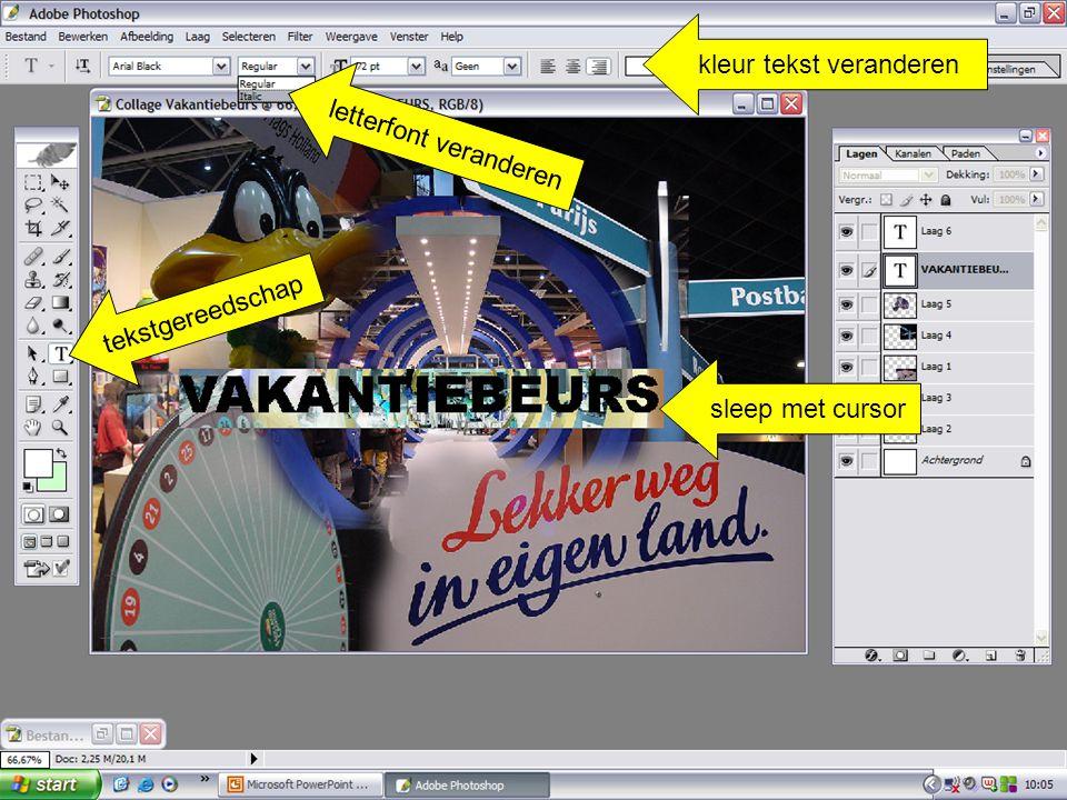 sleep met cursor kleur tekst veranderen tekstgereedschap letterfont veranderen