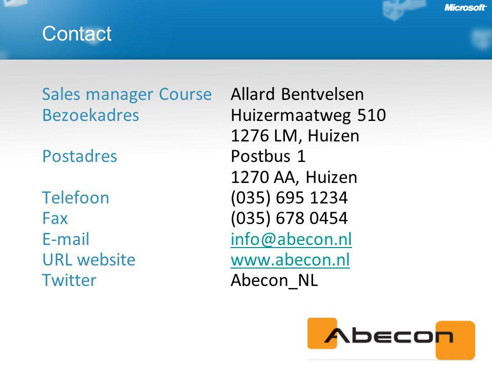 Sales manager Course Allard Bentvelsen BezoekadresHuizermaatweg 510 1276 LM, Huizen PostadresPostbus 1 1270 AA, Huizen Telefoon(035) 695 1234 Fax(035) 678 0454 E-mailinfo@abecon.nl URL websitewww.abecon.nl TwitterAbecon_NLinfo@abecon.nlwww.abecon.nl Contact