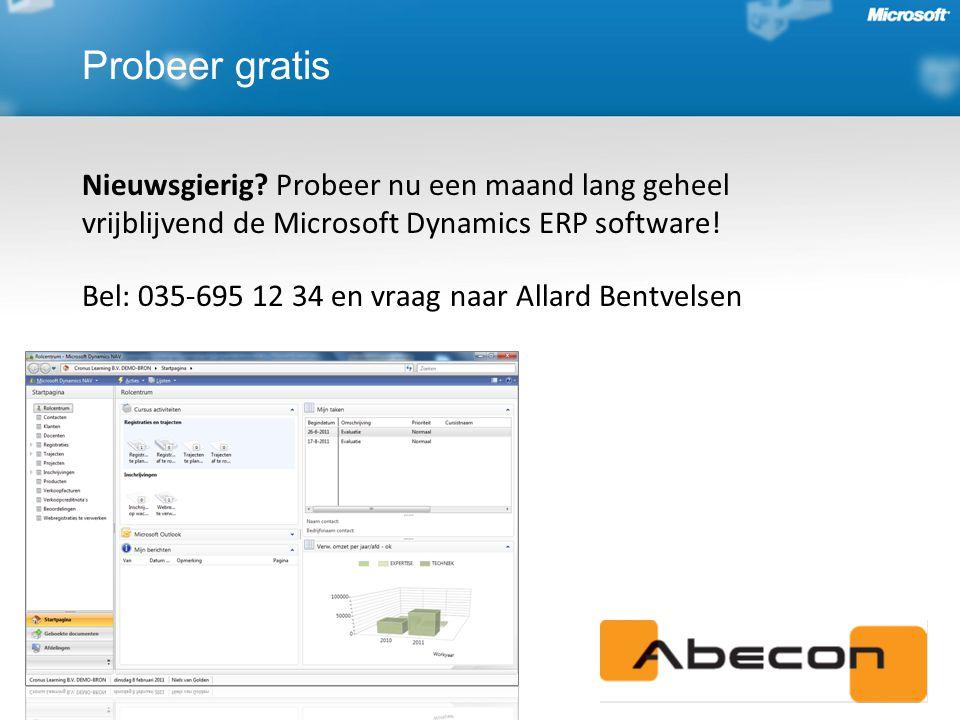 Nieuwsgierig.Probeer nu een maand lang geheel vrijblijvend de Microsoft Dynamics ERP software.