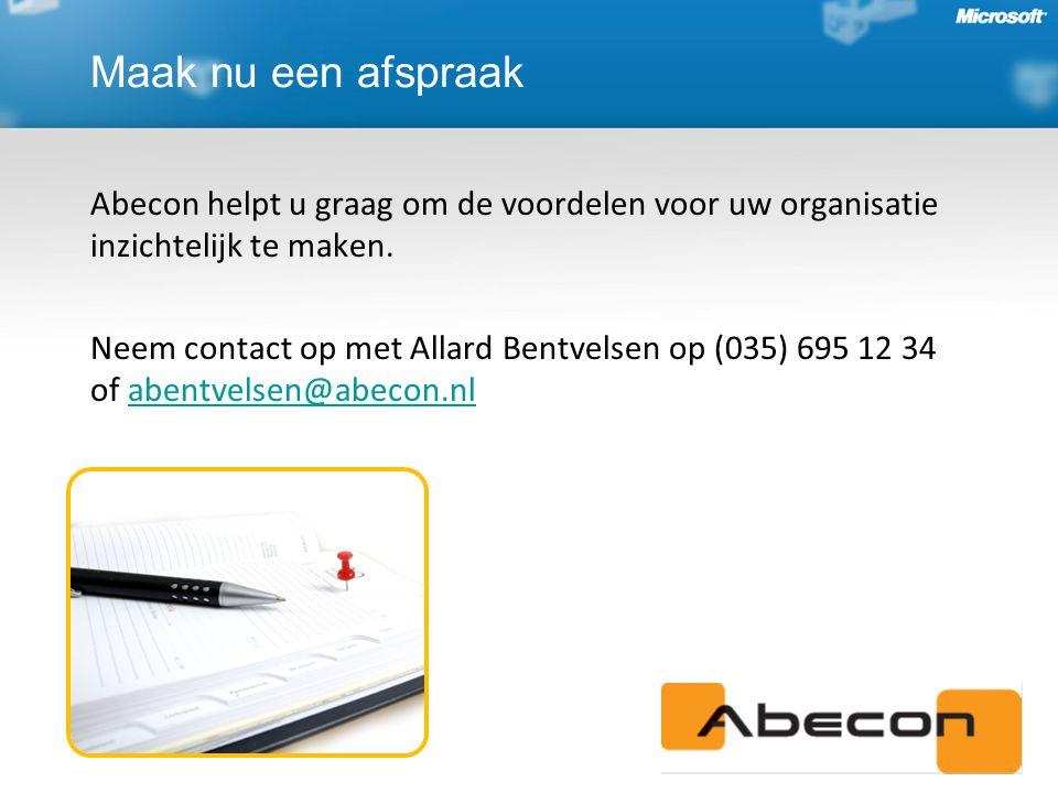 Abecon helpt u graag om de voordelen voor uw organisatie inzichtelijk te maken.