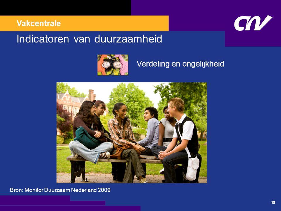 Vakcentrale 18 Indicatoren van duurzaamheid Verdeling en ongelijkheid Bron: Monitor Duurzaam Nederland 2009