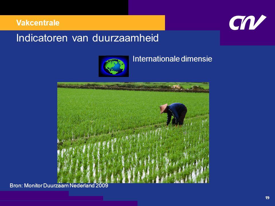 Vakcentrale 19 Indicatoren van duurzaamheid Internationale dimensie Bron: Monitor Duurzaam Nederland 2009