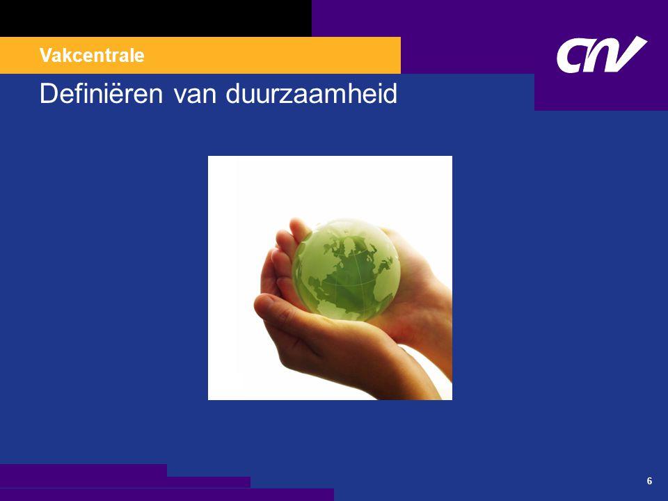 Vakcentrale 77 Indicatoren van duurzaamheid Klimaat en energie Biodiversiteit Aarde, lucht en water Sociale participatie Vertrouwen Benutting arbeid Onderwijs Gezondheid Fysiek kapitaal Kennis Verdeling en ongelijkheid Internationale dimensie Bron: Monitor Duurzaam Nederland 2009