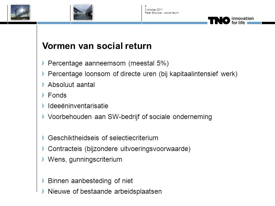 3 oktober 2011 Peter Brouwer - social return 5 Vormen van social return Percentage aanneemsom (meestal 5%) Percentage loonsom of directe uren (bij kap
