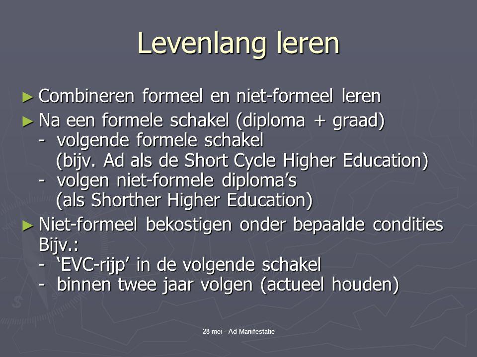 28 mei - Ad-Manifestatie Levenlang leren ► Combineren formeel en niet-formeel leren ► Na een formele schakel (diploma + graad) - volgende formele schakel (bijv.