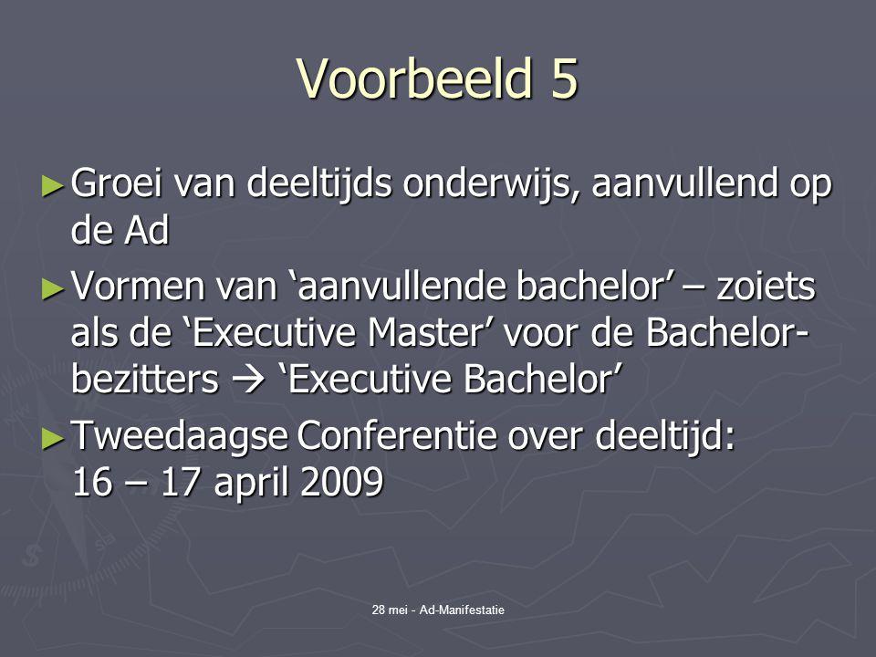28 mei - Ad-Manifestatie Voorbeeld 5 ► Groei van deeltijds onderwijs, aanvullend op de Ad ► Vormen van 'aanvullende bachelor' – zoiets als de 'Executive Master' voor de Bachelor- bezitters  'Executive Bachelor' ► Tweedaagse Conferentie over deeltijd: 16 – 17 april 2009