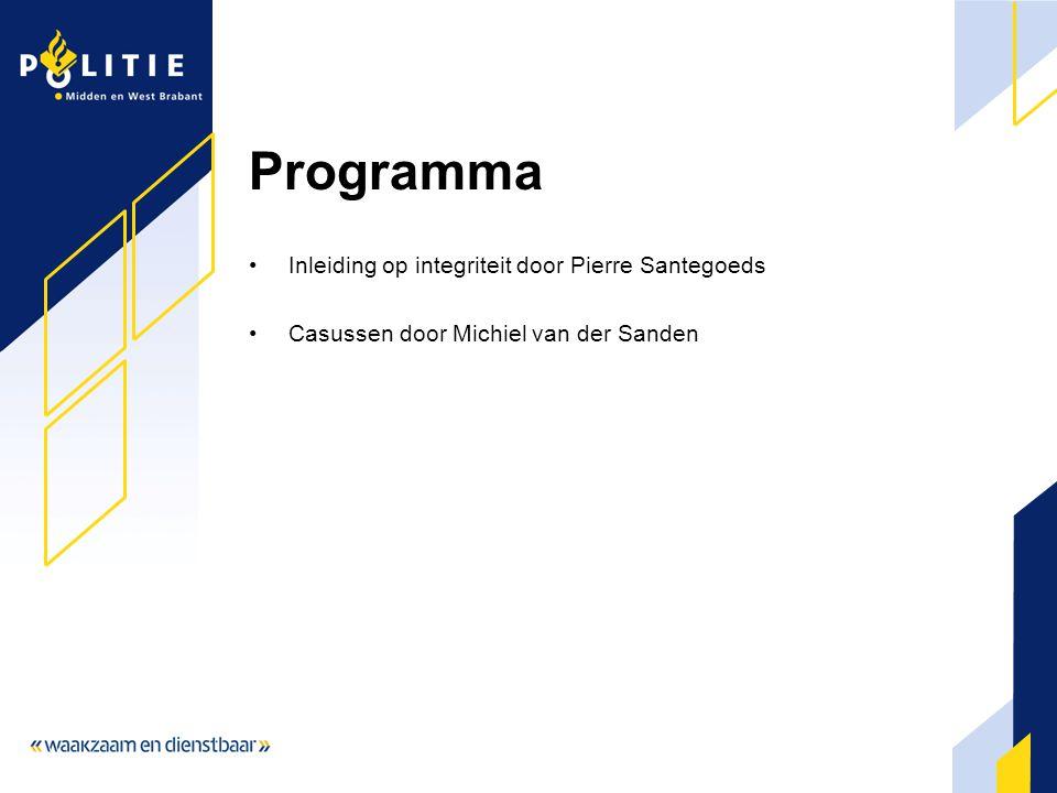 Programma Inleiding op integriteit door Pierre Santegoeds Casussen door Michiel van der Sanden