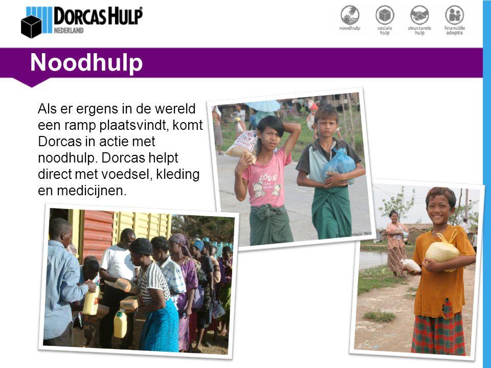 Noodhulp Als er ergens in de wereld een ramp plaatsvindt, komt Dorcas in actie met noodhulp. Dorcas helpt direct met voedsel, kleding en medicijnen.