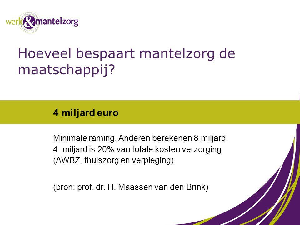 4 miljard euro Minimale raming. Anderen berekenen 8 miljard. 4 miljard is 20% van totale kosten verzorging (AWBZ, thuiszorg en verpleging) (bron: prof