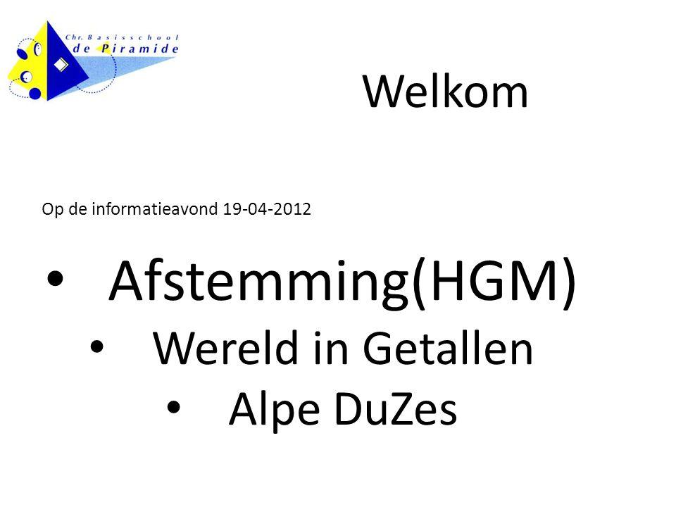 Op de informatieavond 19-04-2012 Afstemming(HGM) Wereld in Getallen Alpe DuZes Welkom