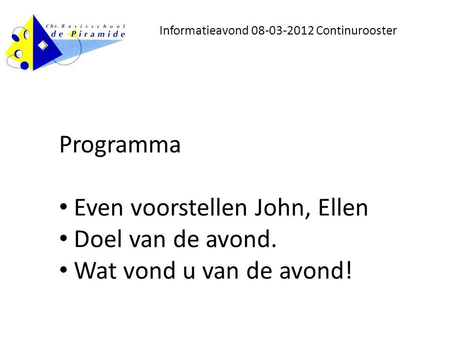 Informatieavond 08-03-2012 Continurooster Programma Even voorstellen John, Ellen Doel van de avond.