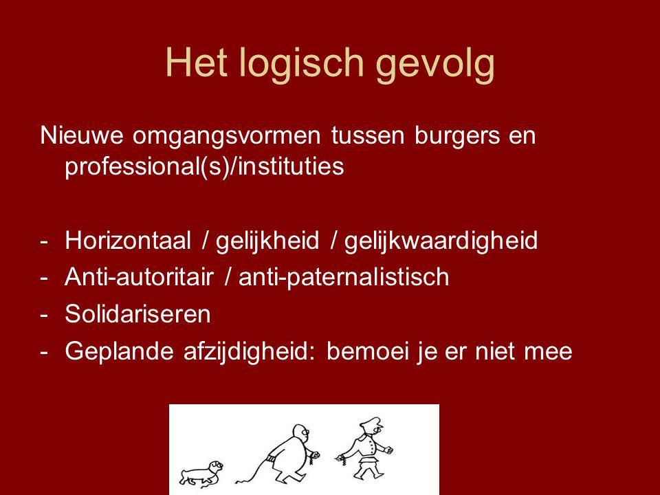 Het logisch gevolg Nieuwe omgangsvormen tussen burgers en professional(s)/instituties -Horizontaal / gelijkheid / gelijkwaardigheid -Anti-autoritair /