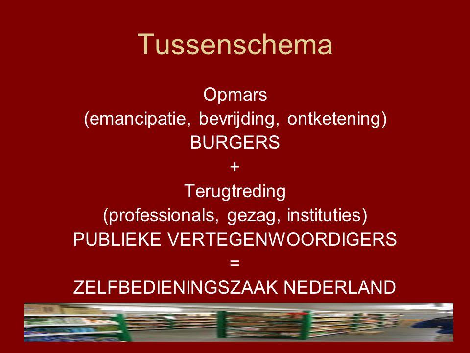Tussenschema Opmars (emancipatie, bevrijding, ontketening) BURGERS + Terugtreding (professionals, gezag, instituties) PUBLIEKE VERTEGENWOORDIGERS = ZE