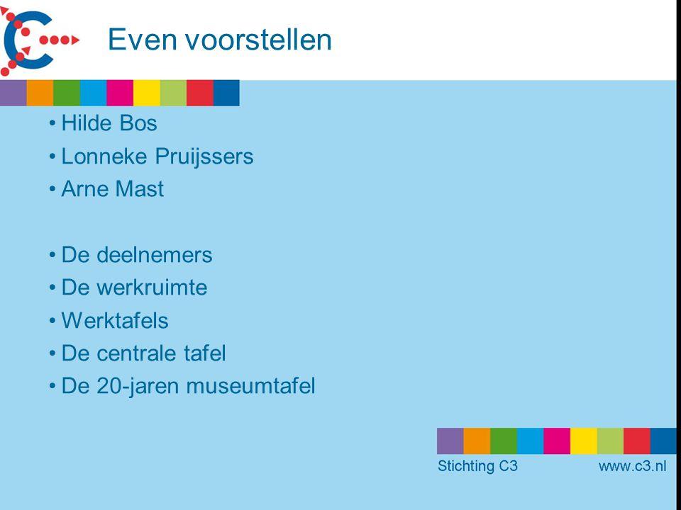 Even voorstellen Hilde Bos Lonneke Pruijssers Arne Mast De deelnemers De werkruimte Werktafels De centrale tafel De 20-jaren museumtafel