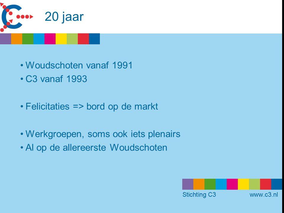 20 jaar Woudschoten vanaf 1991 C3 vanaf 1993 Felicitaties => bord op de markt Werkgroepen, soms ook iets plenairs Al op de allereerste Woudschoten