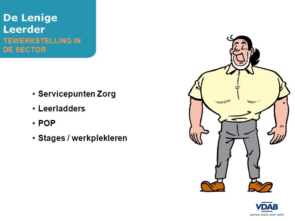 De Lenige Leerder Servicepunten Zorg Leerladders POP Stages / werkplekleren TEWERKSTELLING IN DE SECTOR