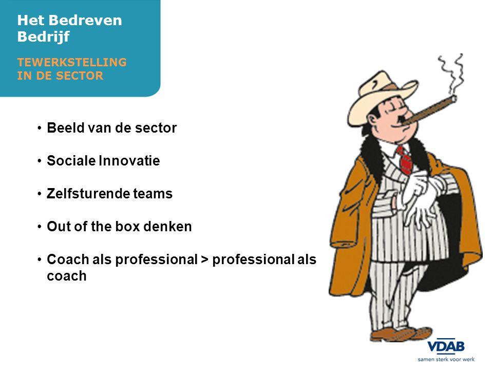 Het Bedreven Bedrijf TEWERKSTELLING IN DE SECTOR Beeld van de sector Sociale Innovatie Zelfsturende teams Out of the box denken Coach als professional > professional als coach