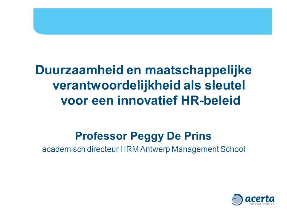 Duurzaamheid en maatschappelijke verantwoordelijkheid als sleutel voor een innovatief HR-beleid Professor Peggy De Prins academisch directeur HRM Antwerp Management School