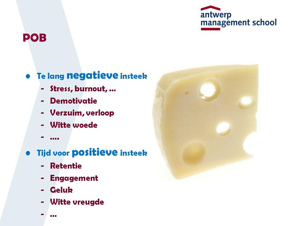 Te lang negatieve insteek -Stress, burnout, … -Demotivatie -Verzuim, verloop -Witte woede -….