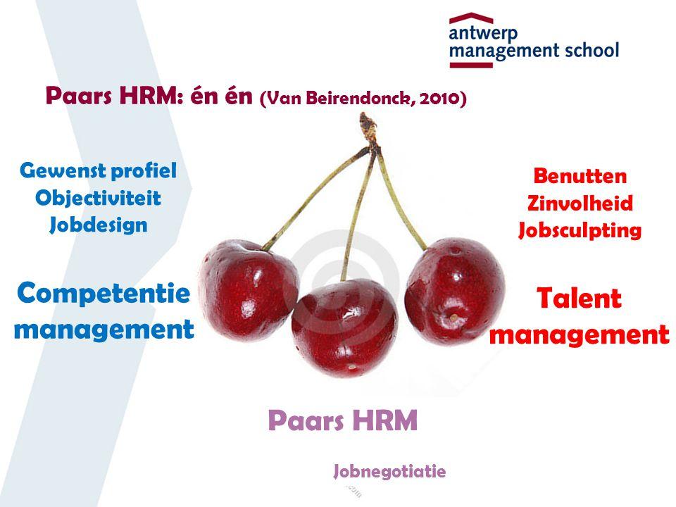 Paars HRM: én én (Van Beirendonck, 2010) Competentie management Talent management Gewenst profiel Objectiviteit Jobdesign Benutten Zinvolheid Jobsculpting Paars HRM Jobnegotiatie