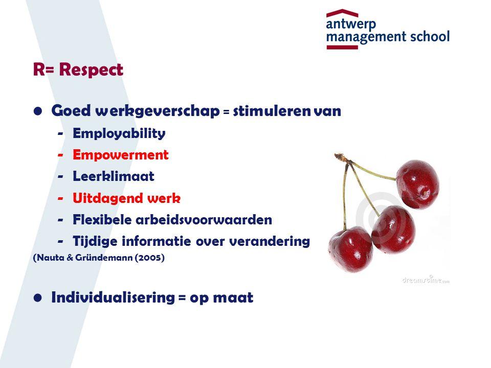R= Respect Goed werkgeverschap = stimuleren van -Employability -Empowerment -Leerklimaat -Uitdagend werk -Flexibele arbeidsvoorwaarden -Tijdige informatie over verandering (Nauta & Gründemann (2005) Individualisering = op maat