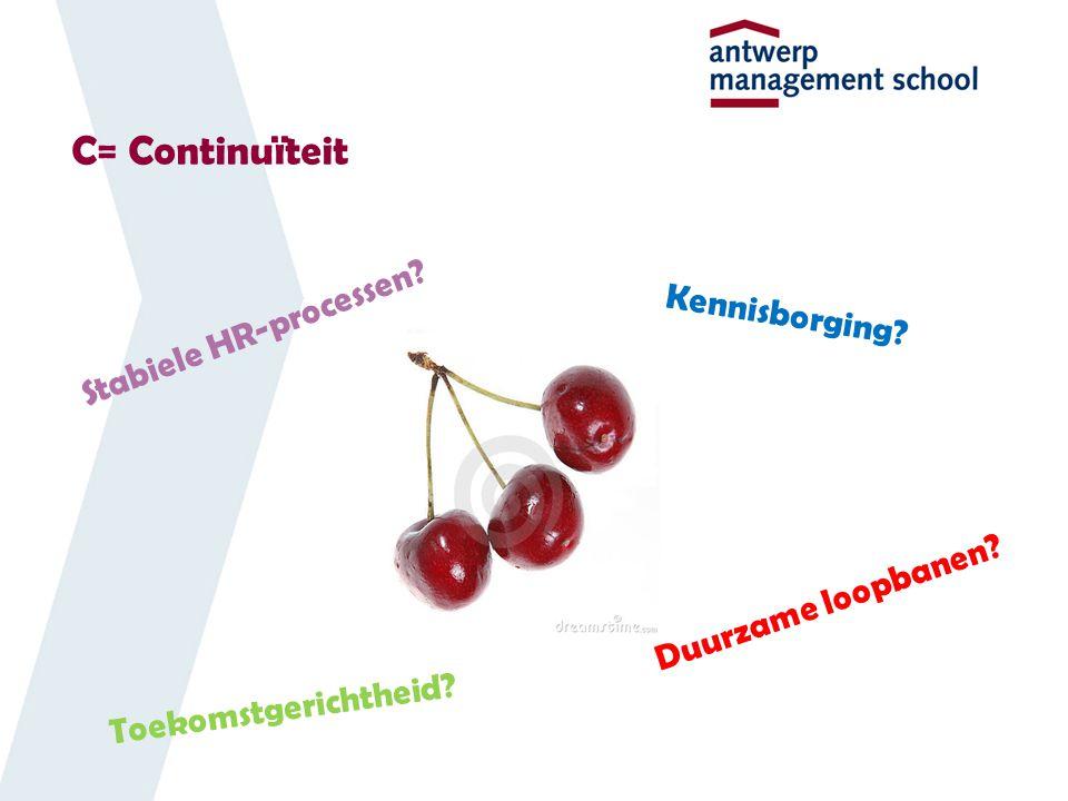 C= Continuïteit Kennisborging? Stabiele HR-processen? Toekomstgerichtheid? Duurzame loopbanen?