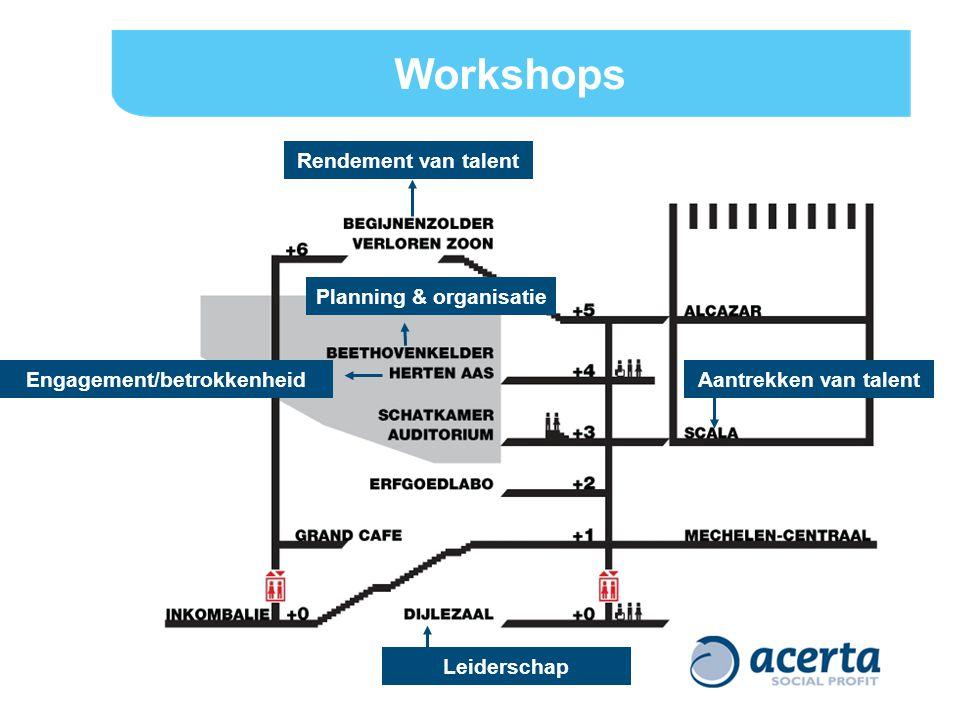 Workshops Rendement van talent Engagement/betrokkenheid Aantrekken van talent Leiderschap Planning & organisatie