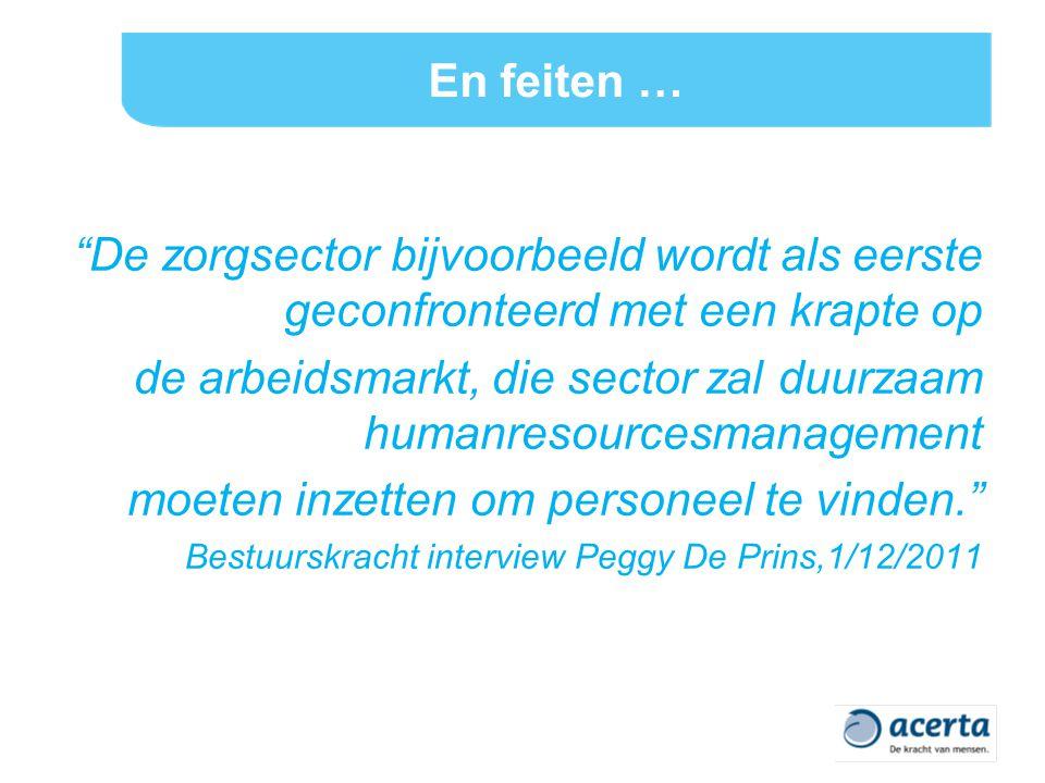 En feiten … De zorgsector bijvoorbeeld wordt als eerste geconfronteerd met een krapte op de arbeidsmarkt, die sector zal duurzaam humanresourcesmanagement moeten inzetten om personeel te vinden. Bestuurskracht interview Peggy De Prins,1/12/2011
